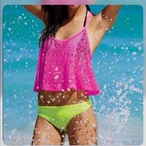 Victoria's Secret PINK hot pink mesh swim cover XS
